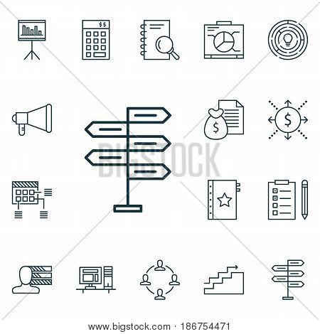 Set Of 16 Project Management Icons. Includes Innovation, Money, Opportunity And Other Symbols. Beautiful Design Elements.