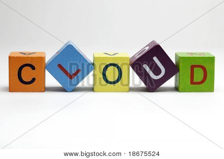 Cloud computing, wooden blocks on white background