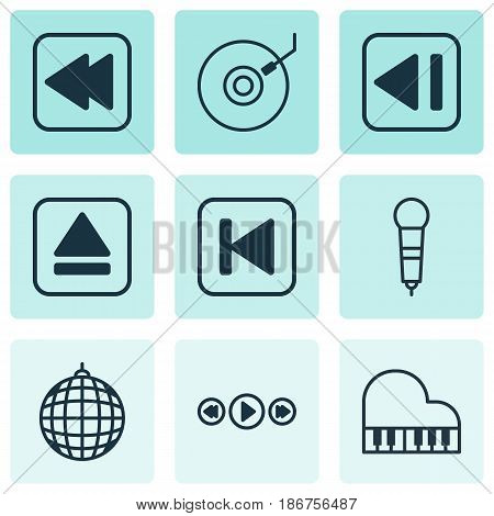 Set Of 9 Audio Icons. Includes Dance Club, Extract Device, Microphone And Other Symbols. Beautiful Design Elements.