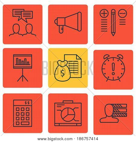 Set Of 9 Project Management Icons. Includes Announcement, Time Management, Discussion And Other Symbols. Beautiful Design Elements.