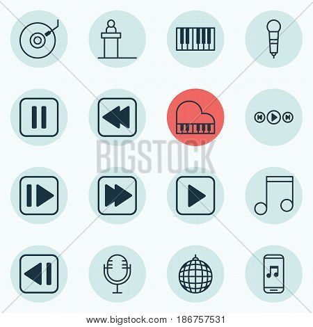 Set Of 16 Multimedia Icons. Includes Dance Club, Following Music, Gramophone And Other Symbols. Beautiful Design Elements.