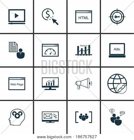 Set Of 16 SEO Icons. Includes Connectivity, Questionnaire, Keyword Optimisation And Other Symbols. Beautiful Design Elements.