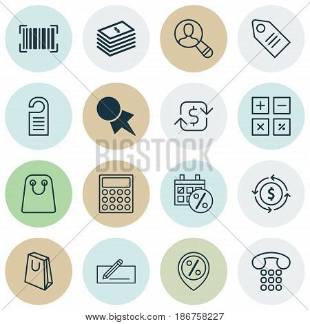 Set Of 16 Ecommerce Icons. Includes Money Transfer, Spectator, Ticket And Other Symbols. Beautiful Design Elements.