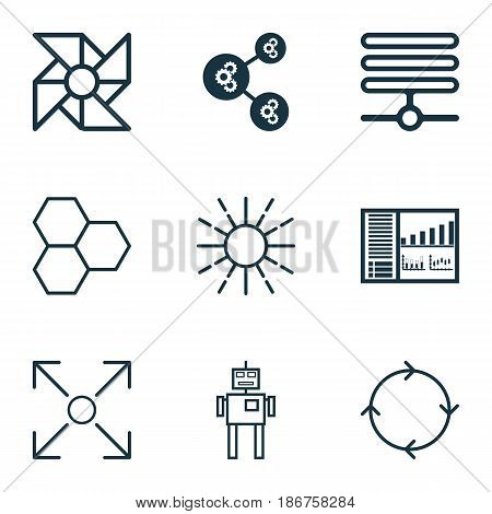 Set Of 9 Artificial Intelligence Icons. Includes Information Base, Branching Program, Recurring Program And Other Symbols. Beautiful Design Elements.