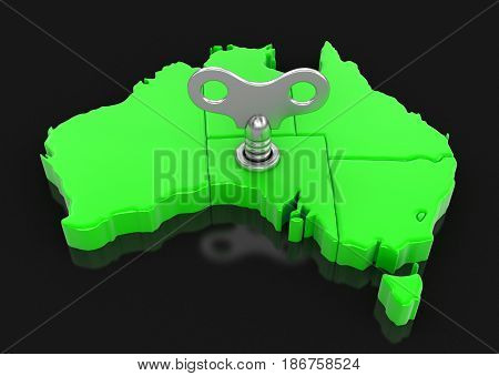 3d Illustration. Map of Australia with winding key. Image with clipping path.