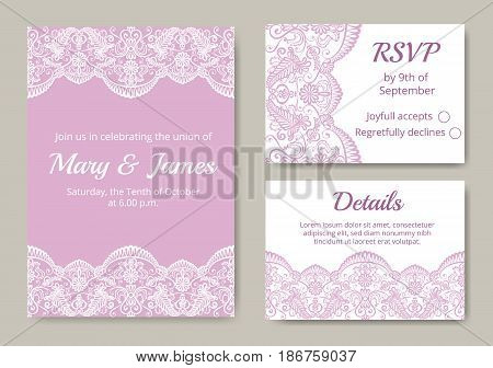 Wedding cards set with pink and white lace border