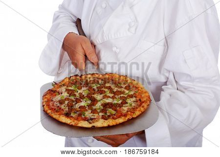 Sausage Pizza. Close up of Sausage and Pepper Pizza isolated on white. Room for text.
