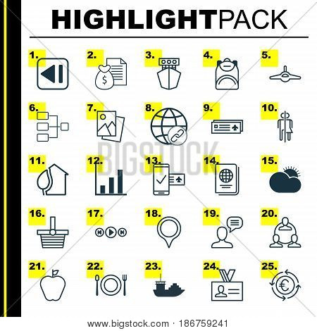 Set Of 25 Universal Editable Icons. Can Be Used For Web, Mobile And App Design. Includes Elements Such As Identification Document, Teamwork, Marker And More.