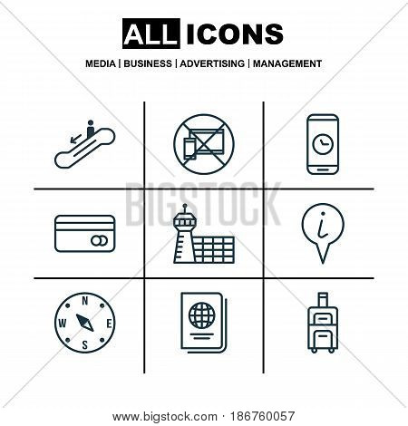 Set Of 9 Airport Icons. Includes Forbidden Mobile, Escalator Down, Airport Building And Other Symbols. Beautiful Design Elements.