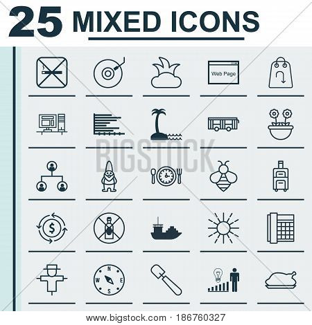 Set Of 25 Universal Editable Icons. Can Be Used For Web, Mobile And App Design. Includes Elements Such As Meal Hour, Vehicle, Website And More.