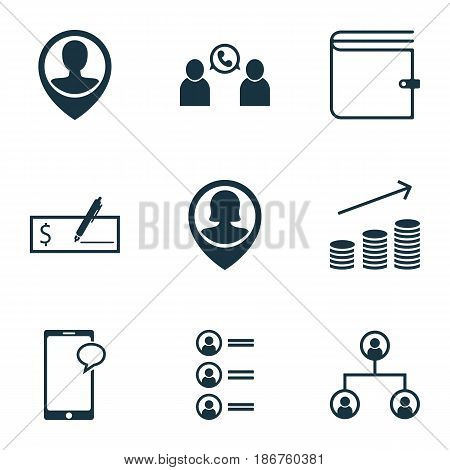 Set Of 9 Hr Icons. Includes Coins Growth, Messaging, Bank Payment And Other Symbols. Beautiful Design Elements.