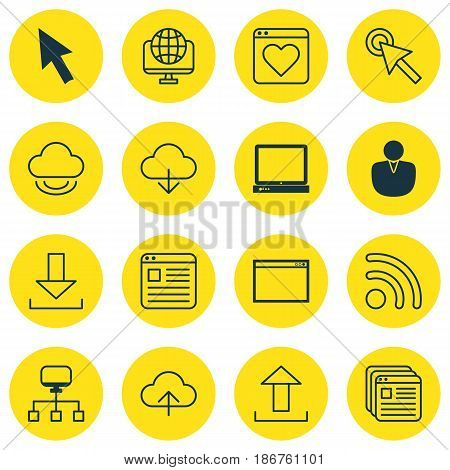 Set Of 16 Internet Icons. Includes Followed Website, Data Synchronize, Login And Other Symbols. Beautiful Design Elements.