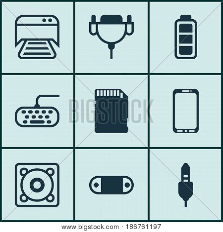 Set Of 9 Computer Hardware Icons. Includes Accumulator Sign, Aux Cord, Radio Set And Other Symbols. Beautiful Design Elements.
