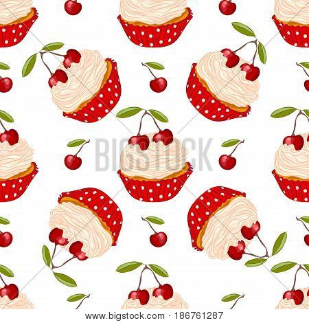 Cupcake with fresh cherry in red holder seamless pattern. Sweet dessert for wrapper or textile.