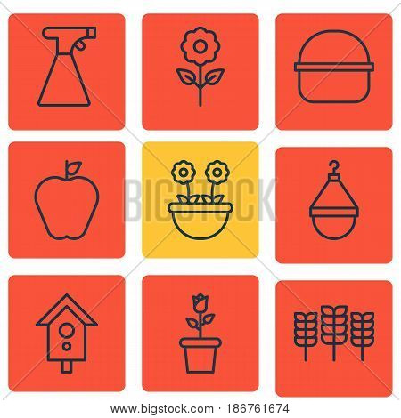 Set Of 9 Garden Icons. Includes Hanger, Sprinkler, Wheat And Other Symbols. Beautiful Design Elements.
