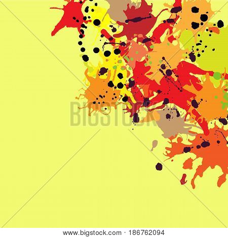 Red orange maroon artistic ink splashes vector background copy space. Greeting card or invitation template with place for text