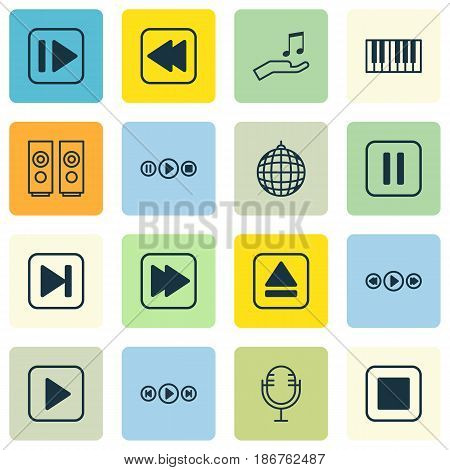 Set Of 16 Audio Icons. Includes Note Donate, Audio Buttons, Rewind Back And Other Symbols. Beautiful Design Elements.