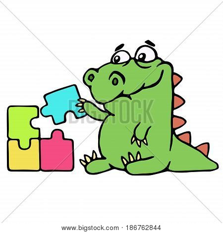 cute dinosaur assemble the puzzles. vector illustration. melancholy cartoon character.
