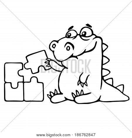 cute dragon is played and assemble the puzzle. vector illustration. funny cartoon character.