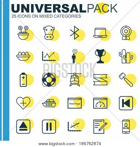 Set Of 25 Universal Editable Icons. Can Be Used For Web, Mobile And App Design. Includes Elements Such As Favorite Person, Kine, Changes Graph And More.