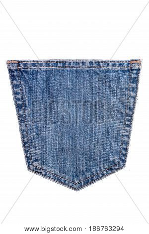 denim blue jean pocket texture is the classic indigo fashion. Denim blue jeans pocket isolated on white background