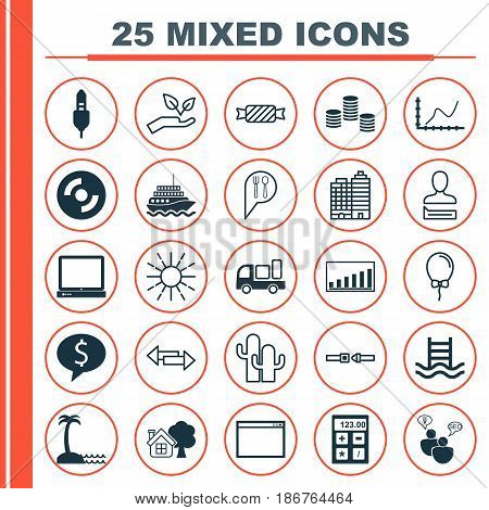 Set Of 25 Universal Editable Icons. Can Be Used For Web, Mobile And App Design. Includes Elements Such As Company Statistics, PC, Crossroad And More.