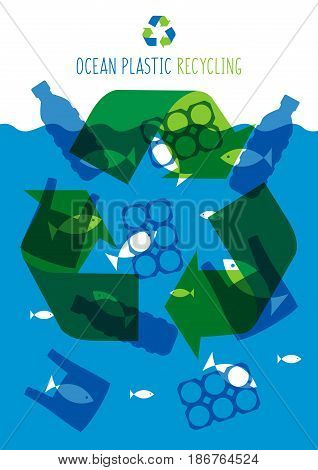 Ocean plastic pollution vector illustration. Plastic garbage bag bottle in the ocean graphic design. Water waste problem creative concept. Eco problem banner with recycling sign.