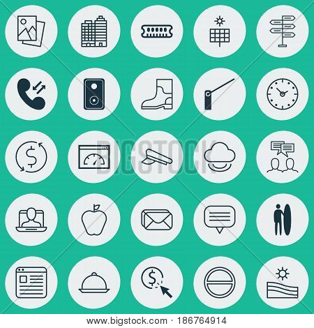 Set Of 25 Universal Editable Icons. Can Be Used For Web, Mobile And App Design. Includes Elements Such As Cellular Data, Social Profile, Surf-Board And More.