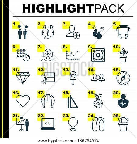 Set Of 25 Universal Editable Icons. Can Be Used For Web, Mobile And App Design. Includes Elements Such As Follow, Team Meeting, Desert Plant And More.