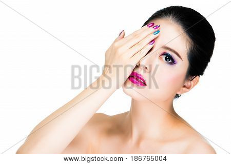 Beautiful Asian Woman Make-up With Pink