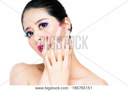 Woman Hands Overlapping In Front Of Face