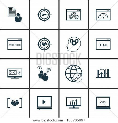 Set Of 16 SEO Icons. Includes Focus Group, Video Player, Keyword Marketing And Other Symbols. Beautiful Design Elements.