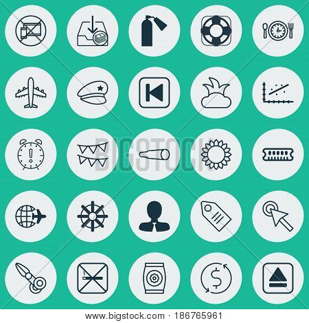 Set Of 25 Universal Editable Icons. Can Be Used For Web, Mobile And App Design. Includes Elements Such As Cigarette, Withdraw Money, Run Song Back And More.