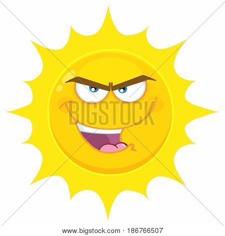 Evil Yellow Sun Cartoon Emoji Face Character With Bitchy Expression. Illustration Isolated On White Background