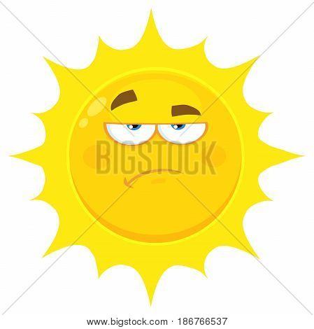 Grumpy Yellow Sun Cartoon Emoji Face Character With Sadness Expression. Illustration Isolated On White Background