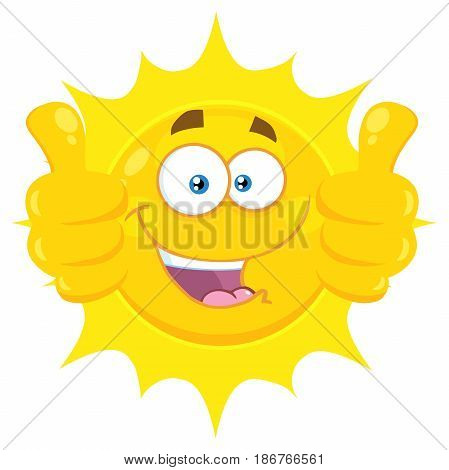 Smiling Yellow Sun Cartoon Emoji Face Character Giving Two Thumbs Up. Illustration Isolated On White Background