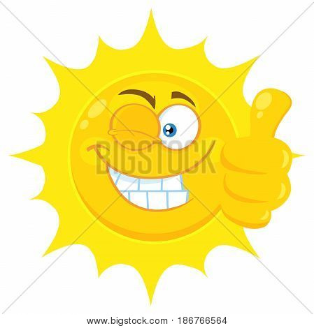 Smiling Yellow Sun Cartoon Emoji Face Character With Wink Expression Giving A Thumb Up. Illustration Isolated On White Background