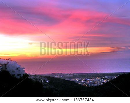 View of Sunset over the sea from Denya in Haifa Israel January 15 2006
