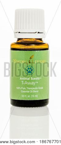 Winneconne WI - 27 March 2017: A bottle of young living oil animal scents T-Away on an isolated background.