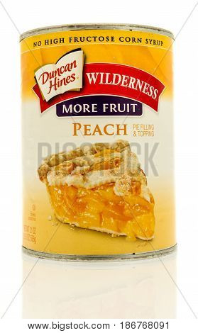 Winneconne WI - 15 May 2017: A can of Duncan Hines peach filling on an isolated background.