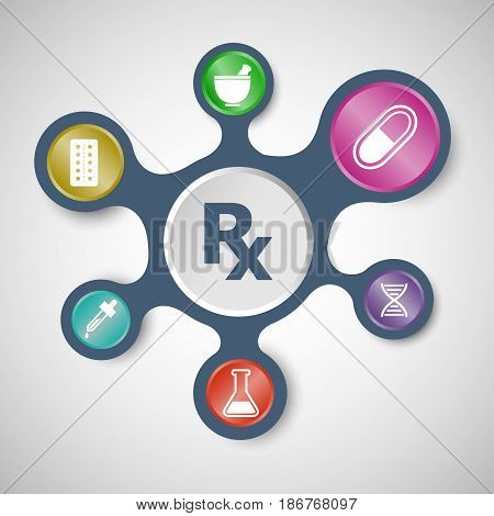 Pharmacy infographic templates with connected metaballs, stock vector
