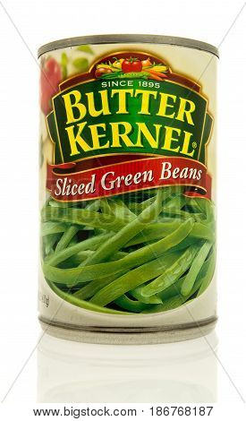 Winneconne WI - 15 May 2017: A can of Butter Kernel sliced green beans on an isolated background.