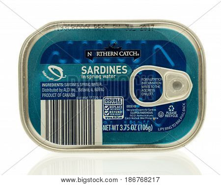 Winneconne WI - 15 May 2017: A can of Northern Catch sardines in spring water on an isolated background.