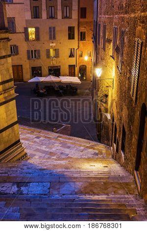 Night Scene In Siena, Tuscany, Italy