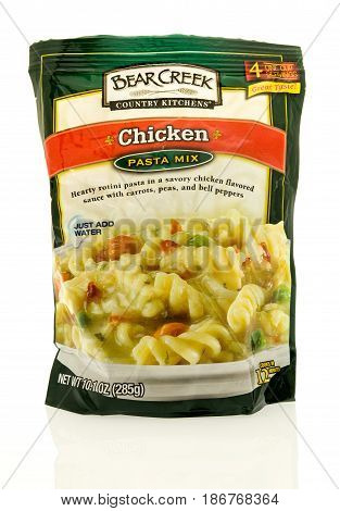 Winneconne WI - 15 May 2017: A package of Bear Creek Country Kitchens chicken pasta mix on an isolated background.