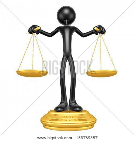 Justice Scales Concept With The Original 3D Character Illustration
