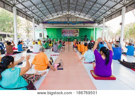 CHIANG RAI THAILAND - FEBRUARY 20 : unidentified people join activity exercise dancing on February 20 2016 in Chiang rai Thailand.