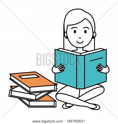 woman reading textbook character vector illustration design