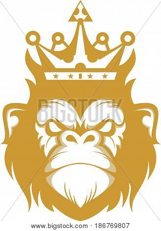 logo illustration silhouette king gorilla head abstract