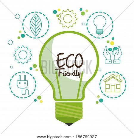 Green light bulb with eco friendly designs over white background. Vector illustration.